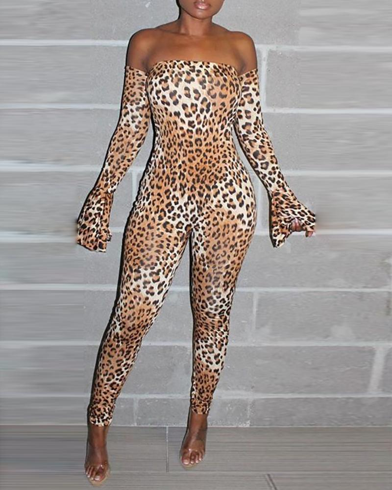 boutiquefeel / Leopard Off Shoulder Bell Cuff Jumpsuit