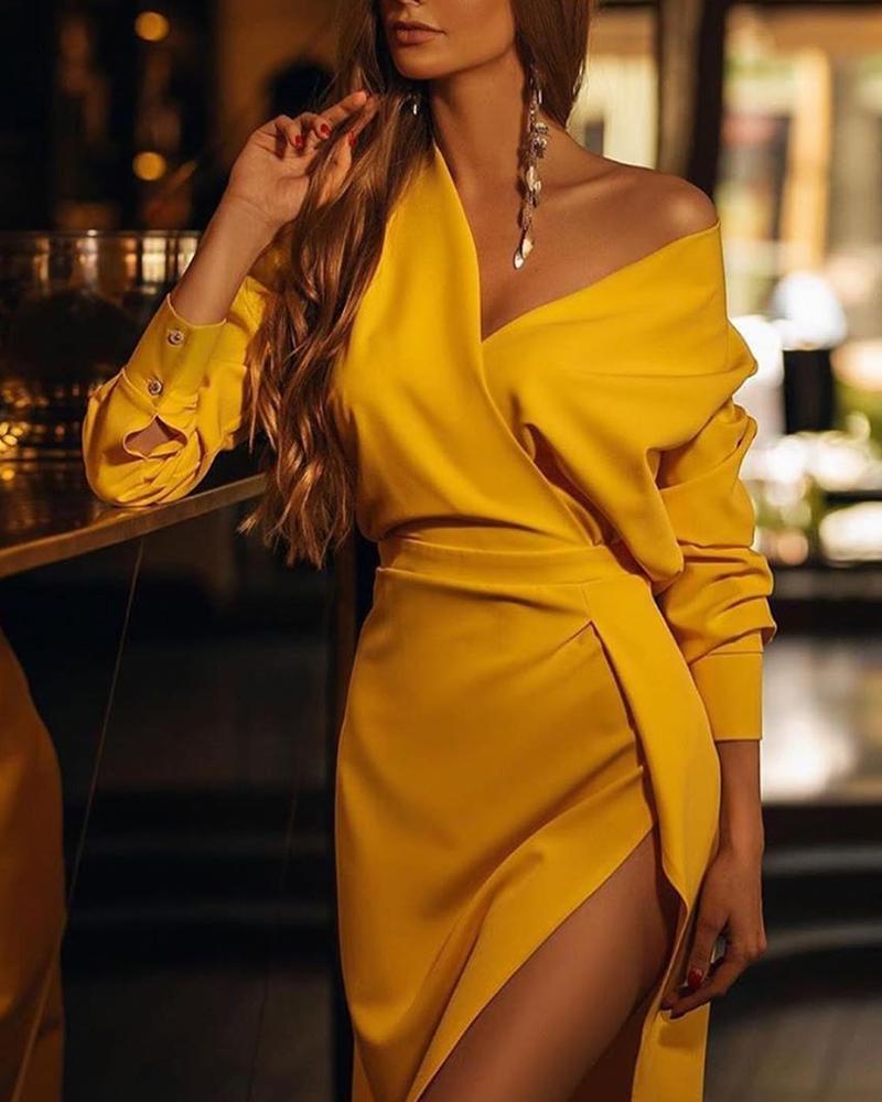 chicme / Vestido sólido com decote em V