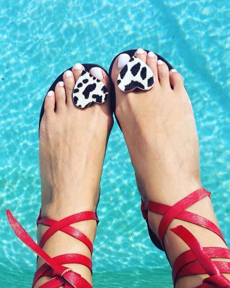 Heart Embellished Boho Sandals фото
