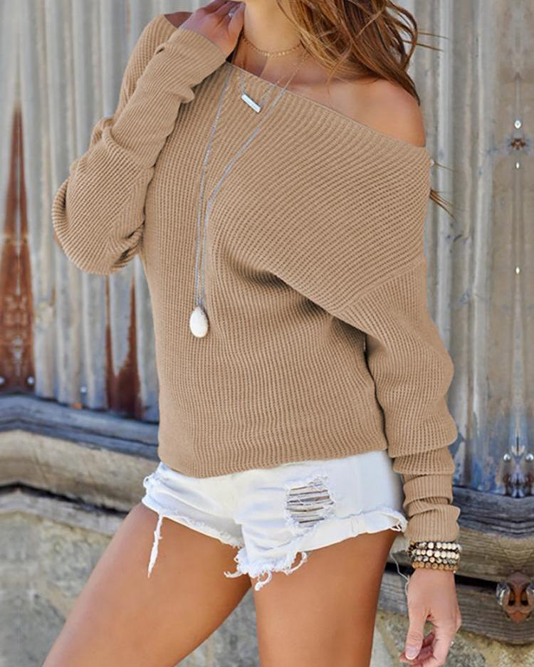 Solid Off Shoulder Casual Sweater фото