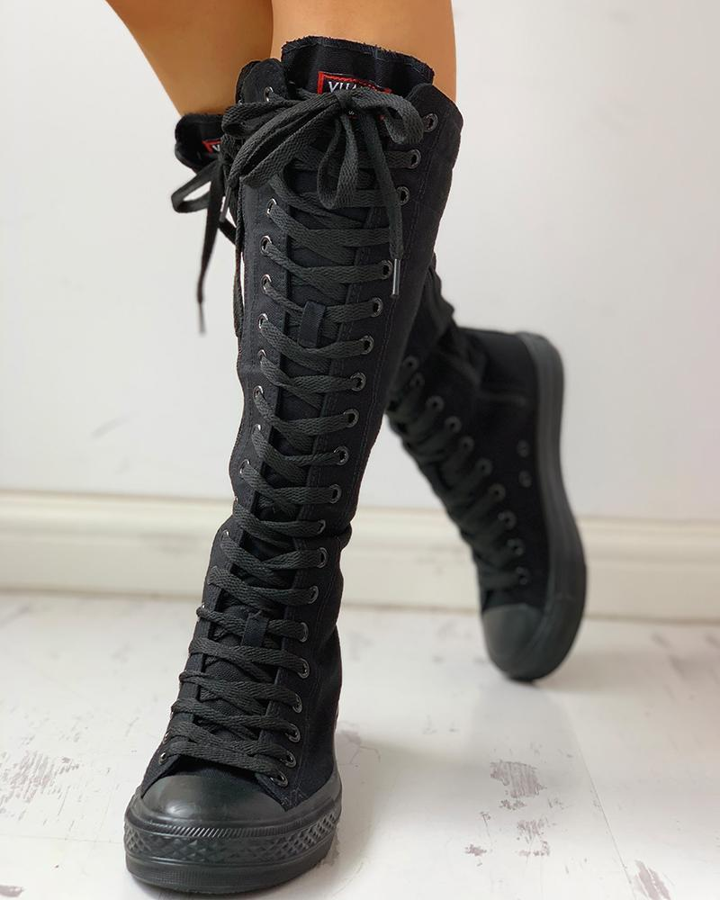 Canvas Side Zipped Lace-Up Boots