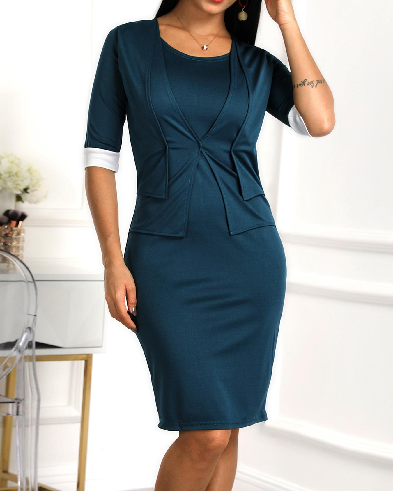 Layered Contrast Cuff Dress фото