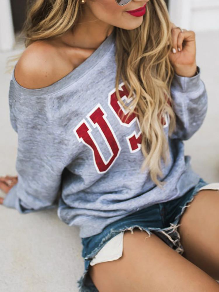 One Shoulder Letter Print Casual Sweatshirt фото