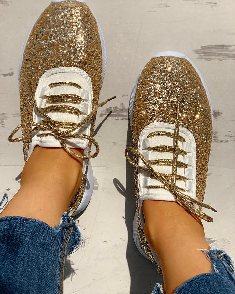 Sequins Embellished Lace-Up Casual Sneakers