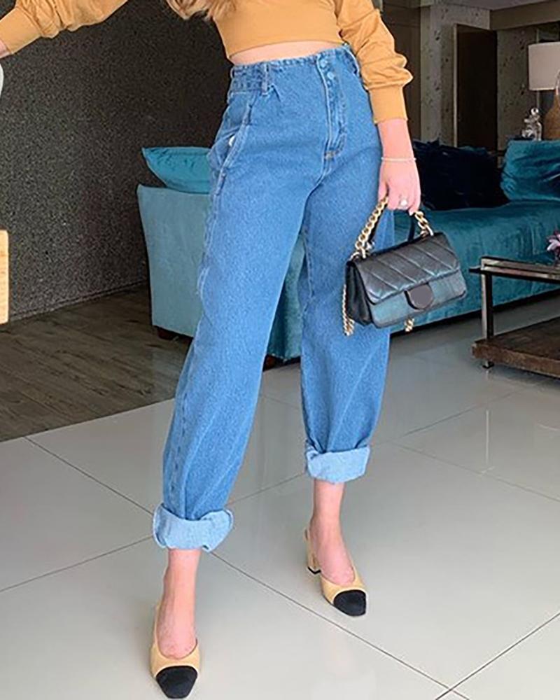 chicme / Jeans de cintura alta com design de bolso abotoado