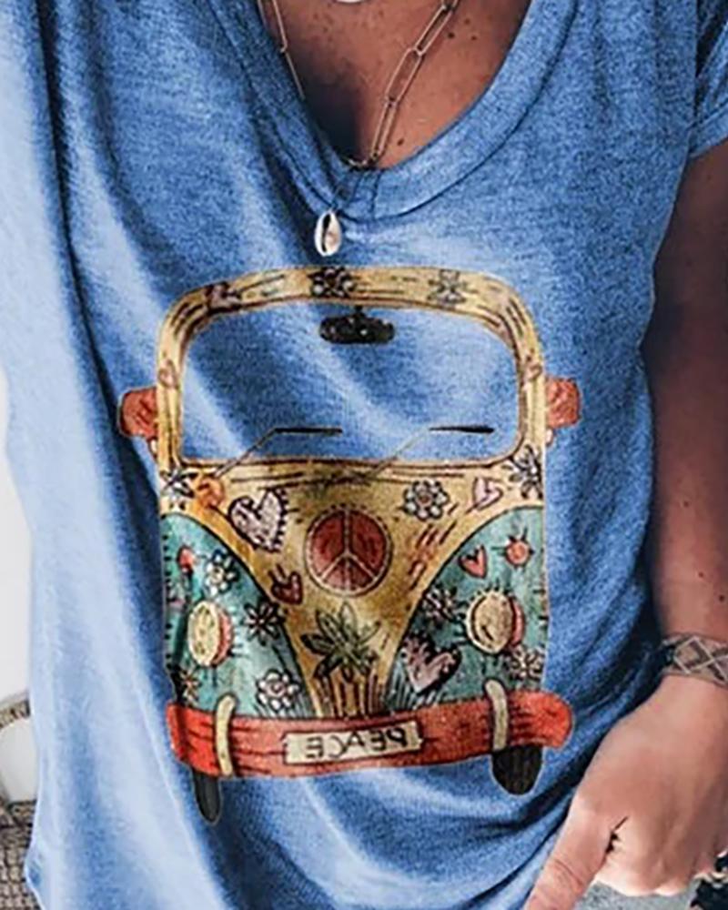 Car Print V-neck Casual T-shirt фото