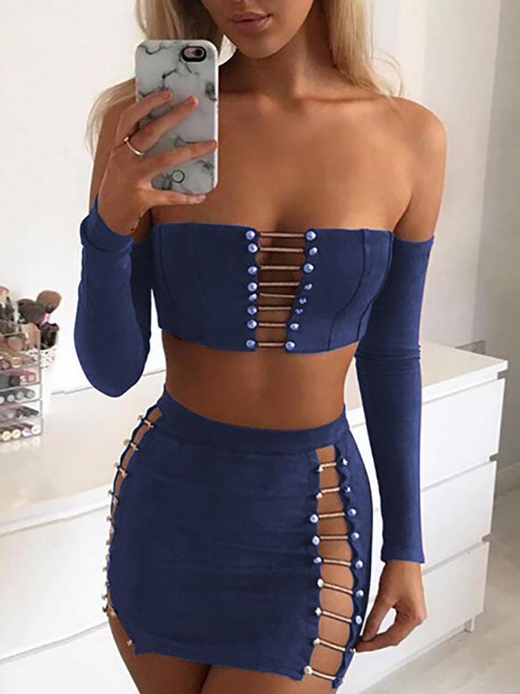 Suede Ladder Cut Out Crop Top & Mini Skirt Sets