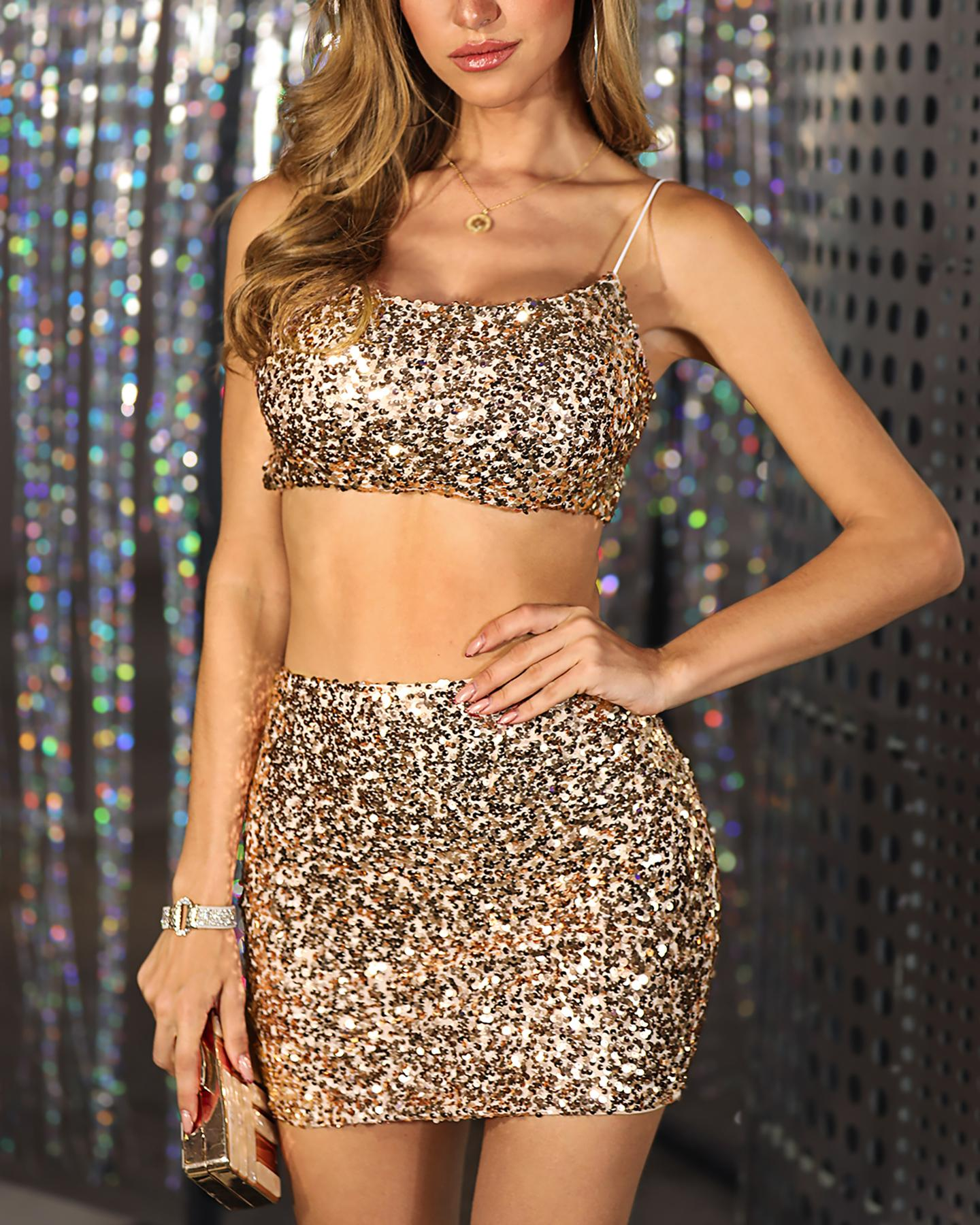 Sequins Spaghetti Strap Crop Top & Skirt Sets фото