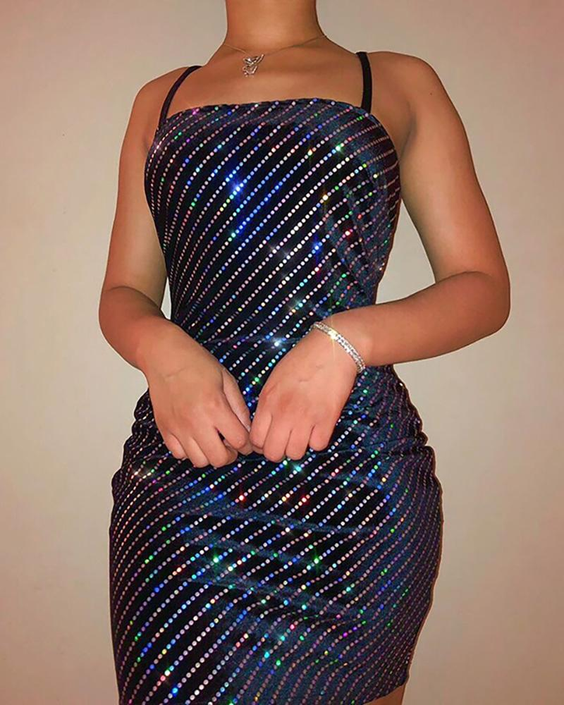 Sequins Dot Spaghetti Strap Bodycon Dress фото