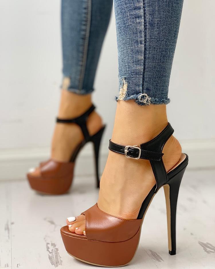 ivrose / Contrast Color Platform Thin Heeled Sandals