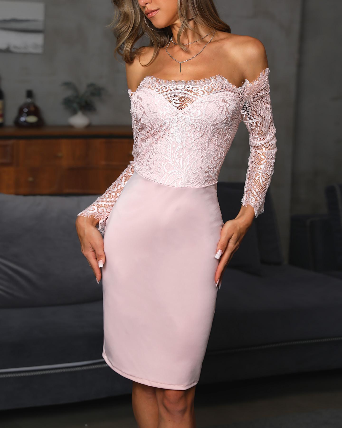 Sexy Lace Splicing Off shoulder Sheath Midi Dress