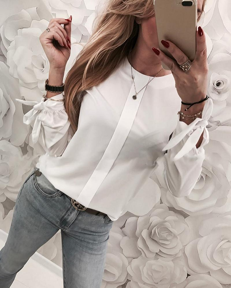 Solid Tied Cuff Detail Casual Blouse