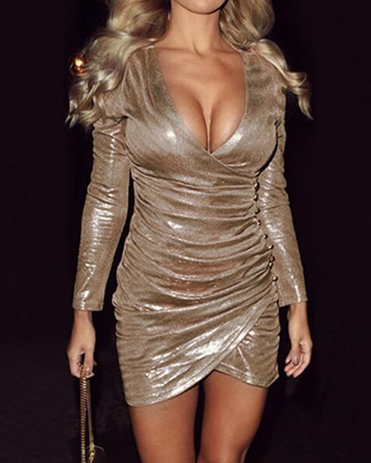 Metallic Ruched Overlap Party Dress