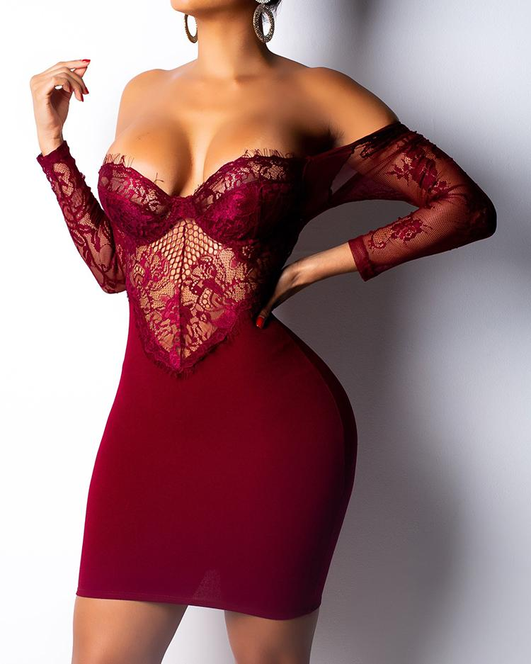 See Through Eyelash Lace Backless Bodycon Dress фото