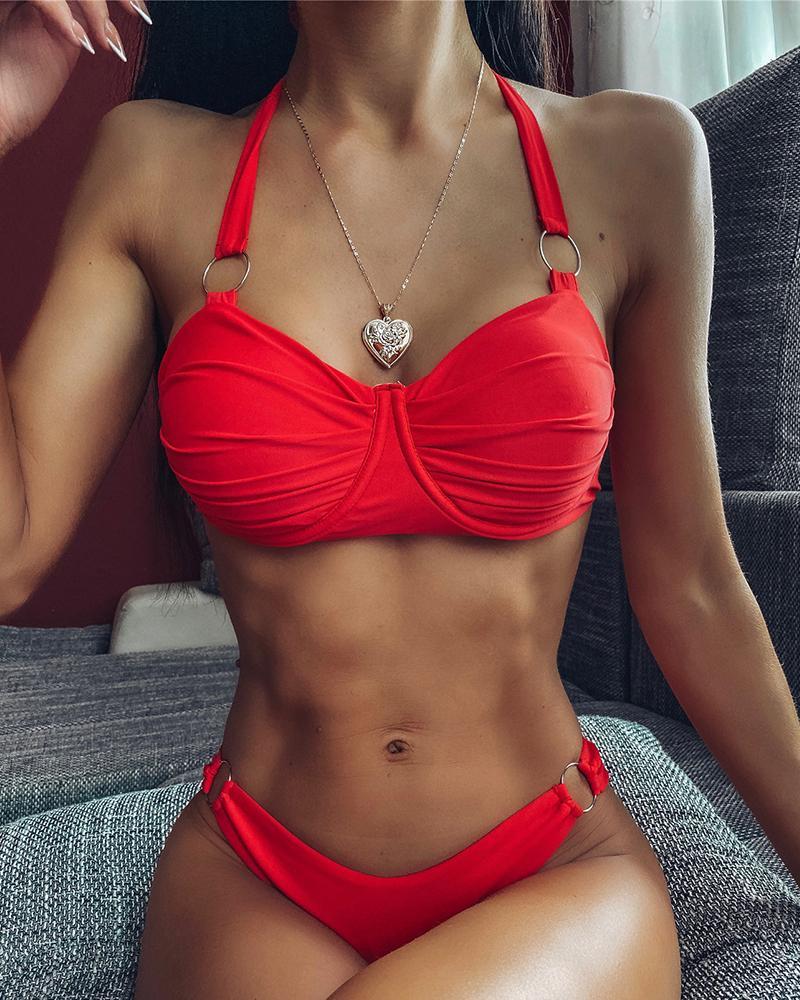 boutiquefeel / Conjunto de bikini con detalle de junta tórica halter