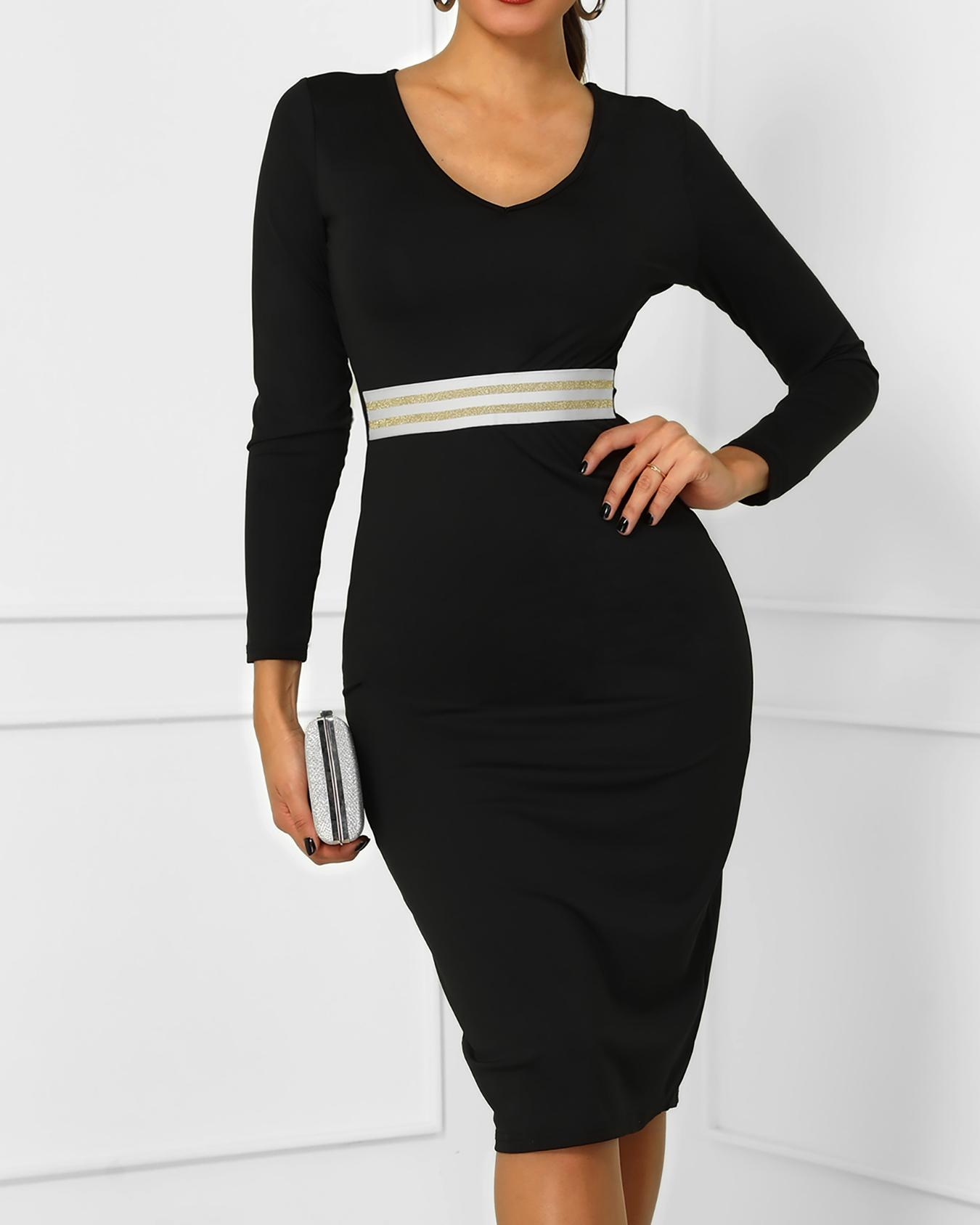 ivrose / Long Sleeve Contrast Striped Bodycon Dress