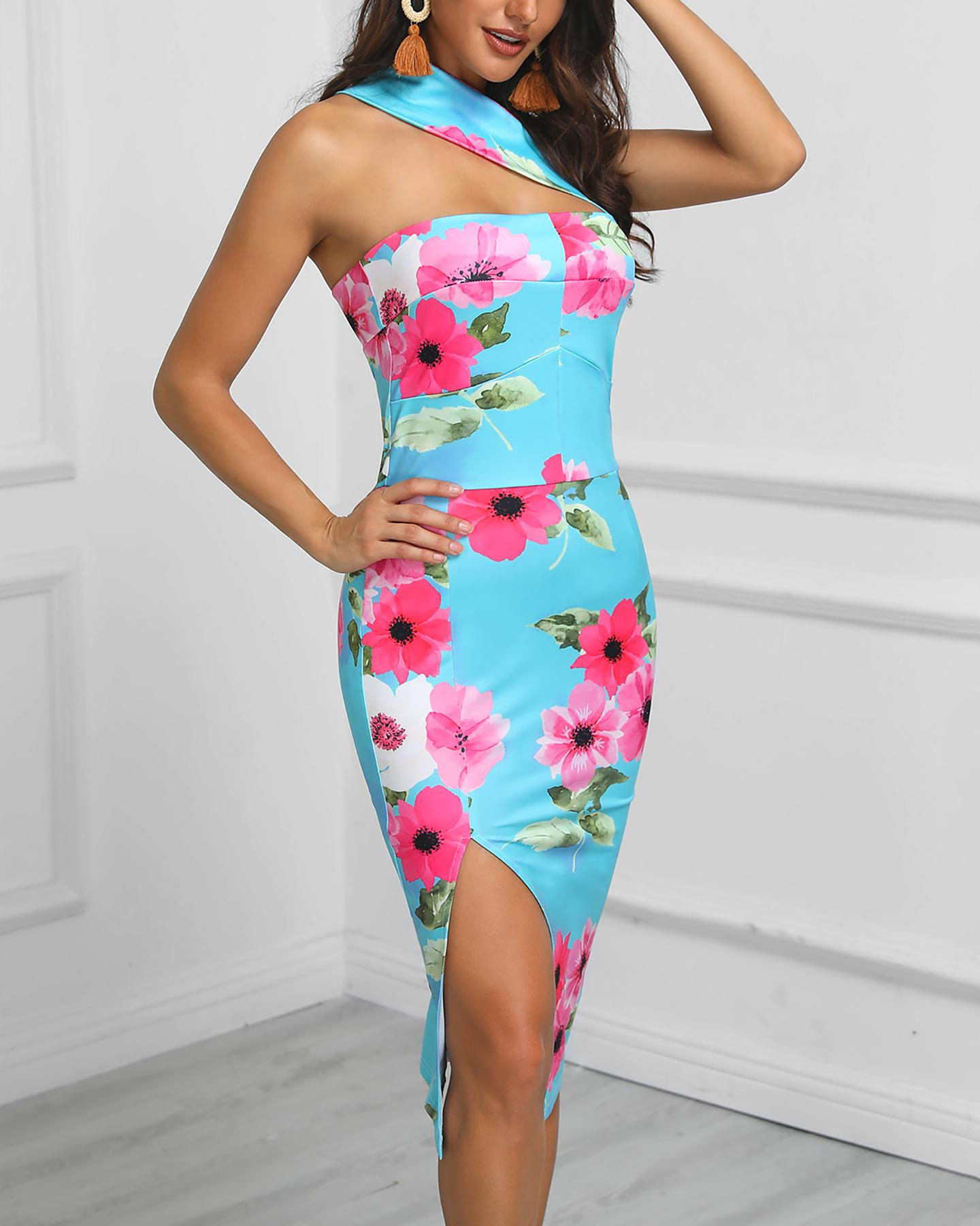chicme / One Shoulder Cutout Floral Print Bodycon Dress