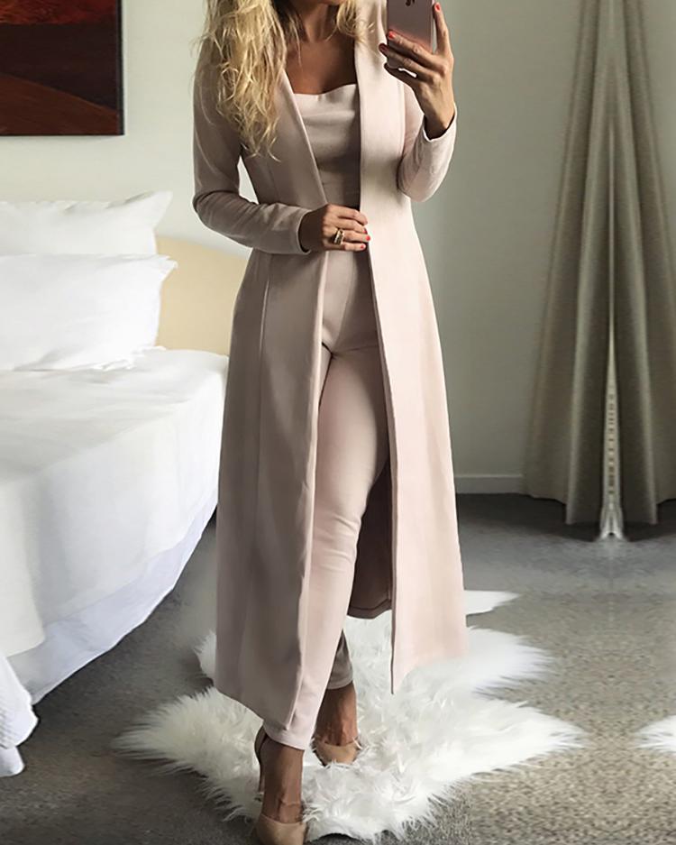 Купить со скидкой 3PCs Solid Cardigan Coat With Top and Pants