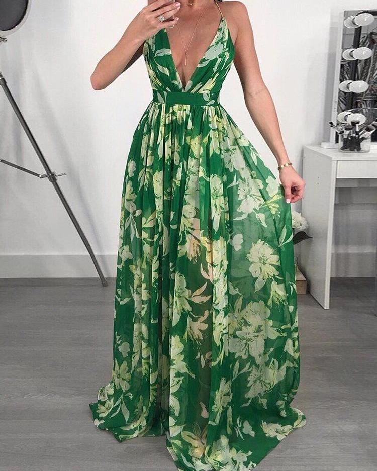 Floral Print Pleated Backless Slip Maxi Dress фото