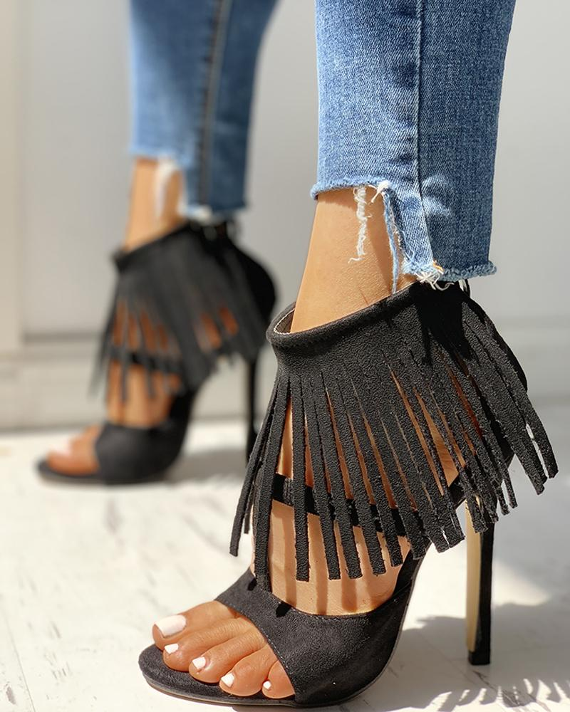 ivrose / Solid Tassels Cut Out Thin Heeled Sandals