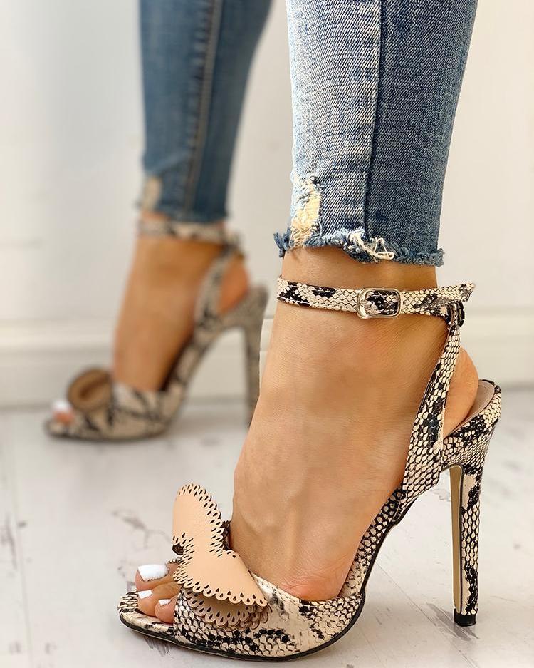 chicme / Snakeskin Layered Detail Thin Heeled Sandals