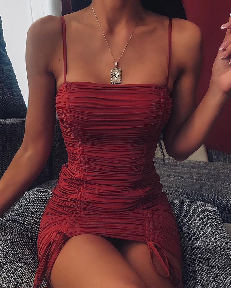 ivrose / Mini Vestido Ruched Bodycon Sólido