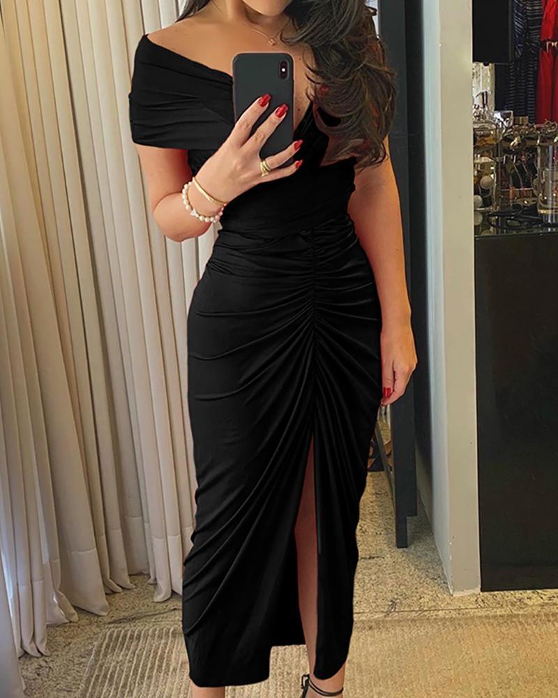 Off Shoulder Ruched High Slit Dress фото