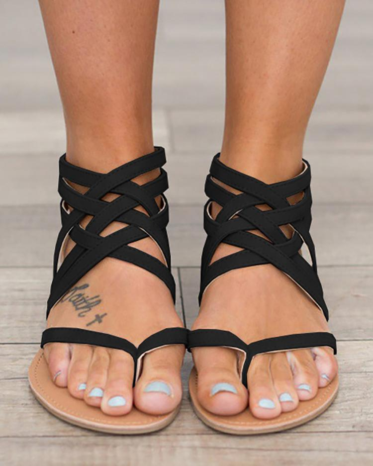 Caged Strap Zipper Back Closure Flat Sandals - Black