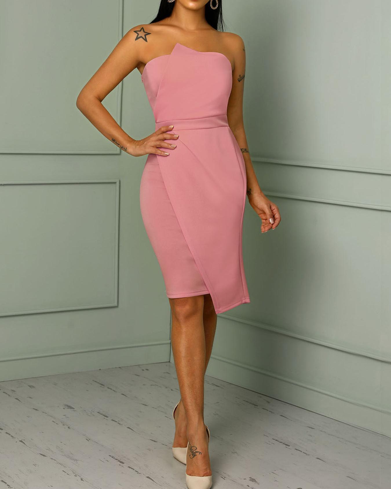Striking Fold Front Asymmetric Dress фото