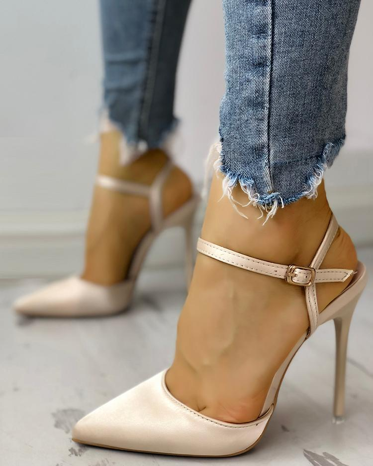 Satin Ankle Buckle Pointed Toe Thin Heeled Sandals, Gold