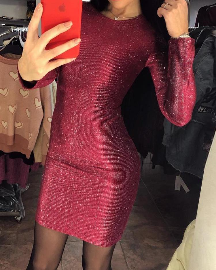 chicme / Glitter Long Sleeve Bodycon Party Dress