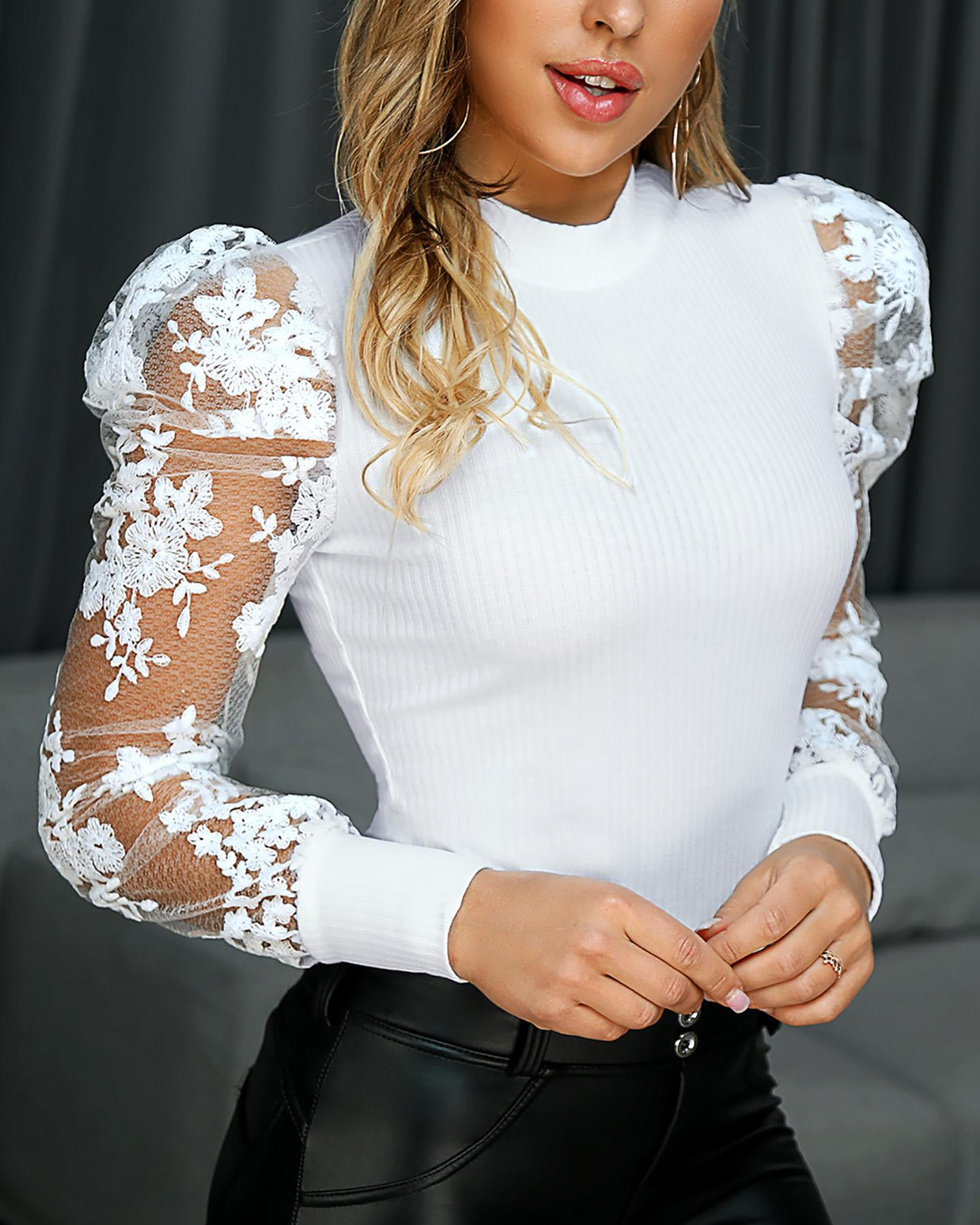 Lace Puff Sleeve Knit Top фото