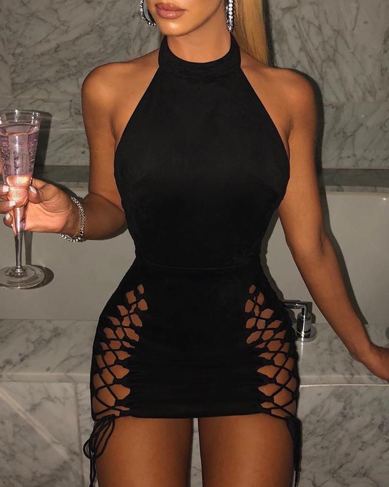 Lace-up Sleeveless Bodycon Dress фото