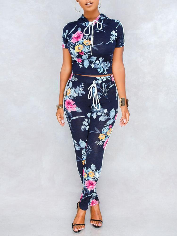 Floral Print Stripes Side Hooded Top & Pants Sets