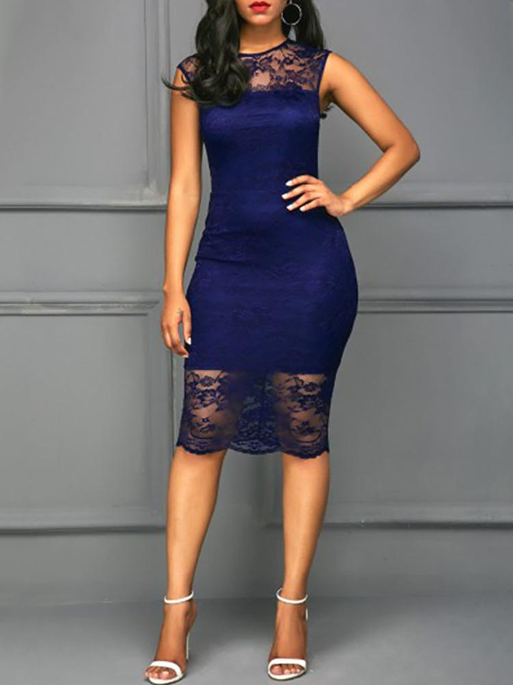 boutiquefeel / Vestido ajustado a media pierna Slinky Midi de encaje