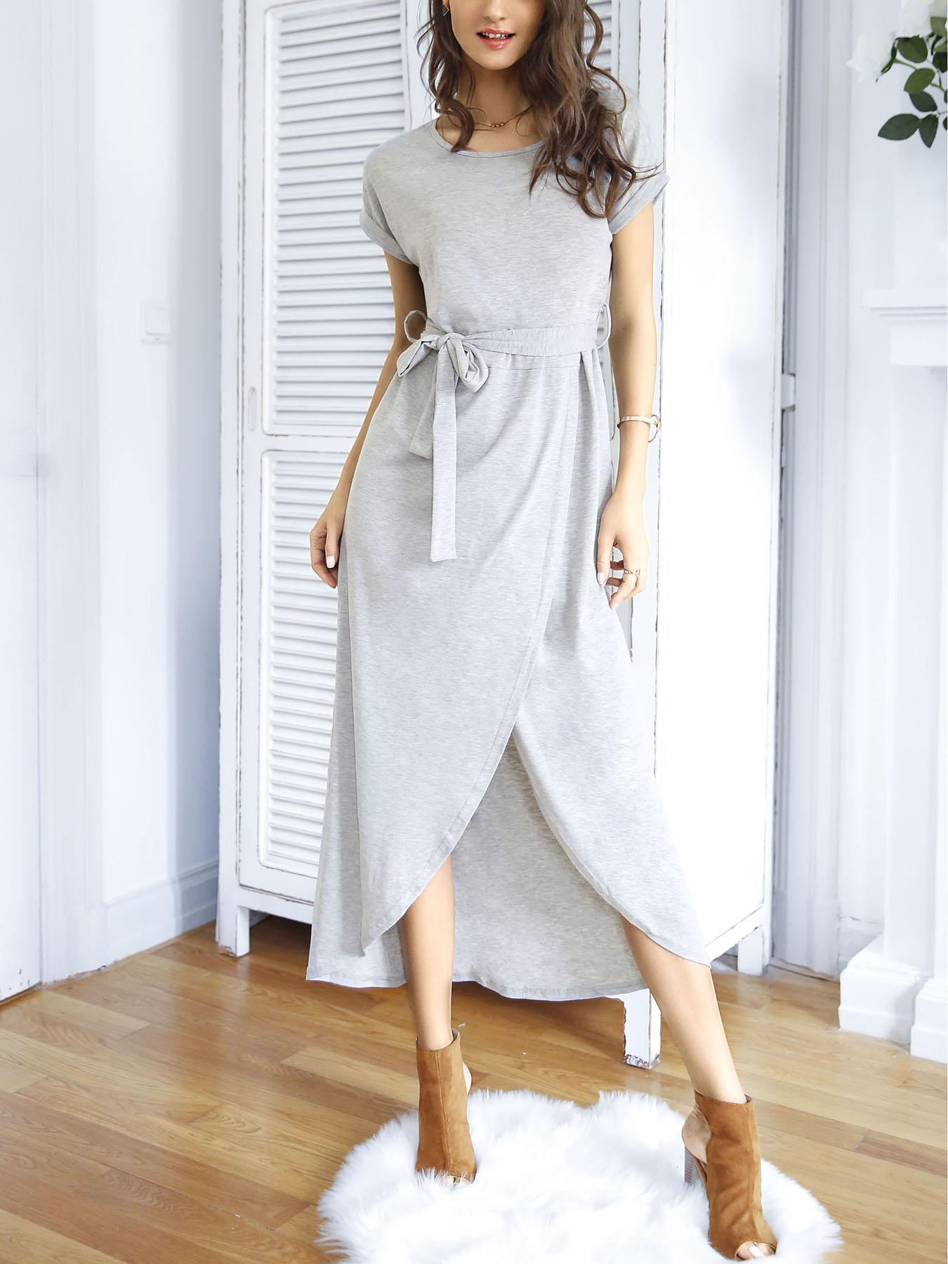 Stylish Irregular Split Tied Waist Maxi Dress фото