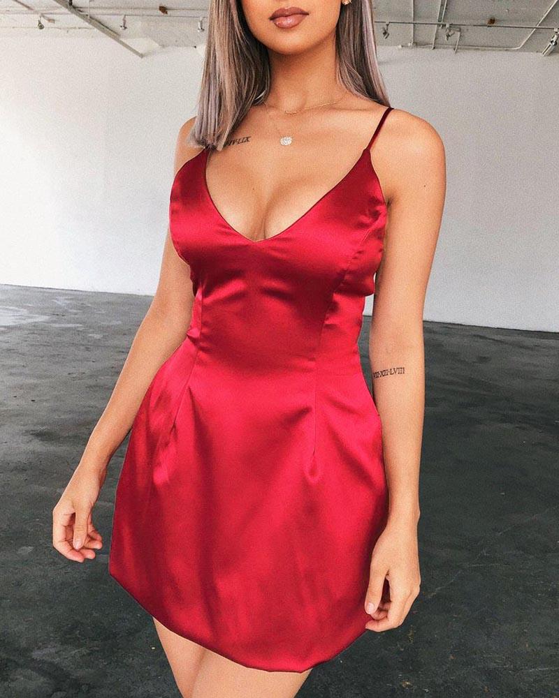 chicme / Correas espaguetis con cremallera y mini vestido
