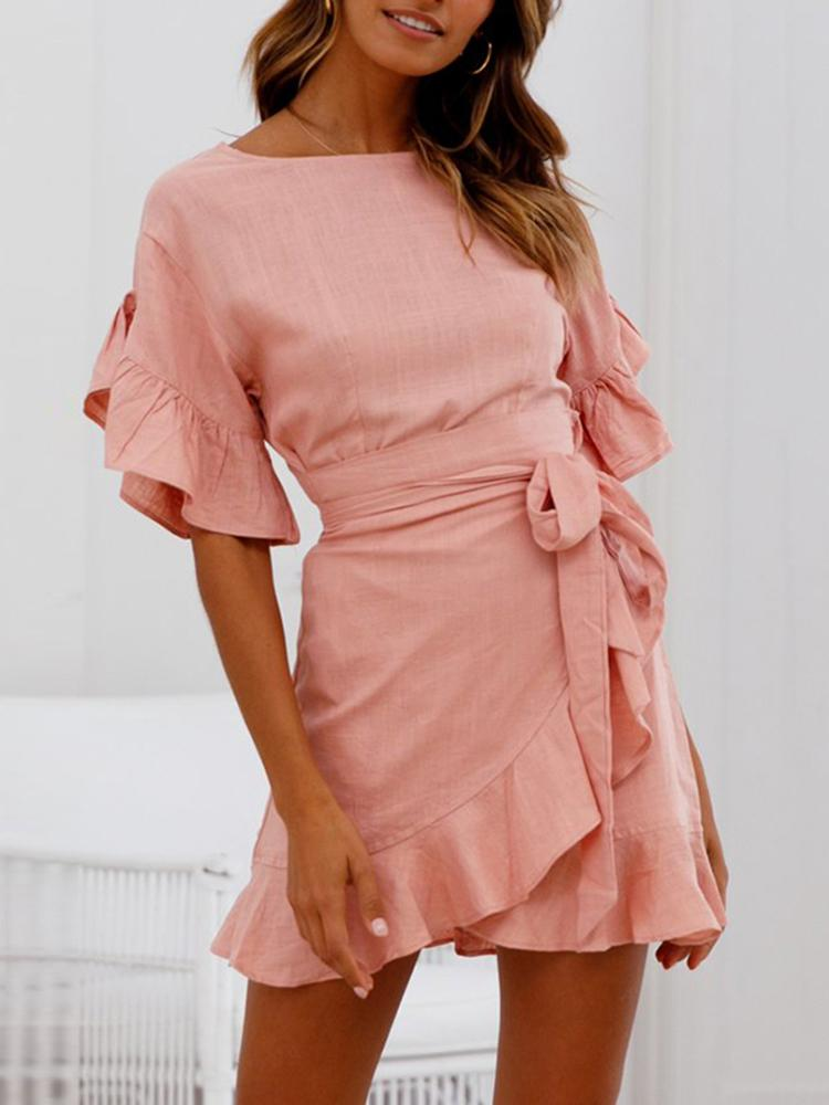 Ruffle Bishop Sleeve Self-belted Wrapover Hem Dress фото