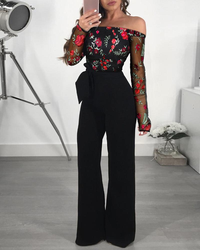joyshoetique / Off Shoulder Mesh Floral Embroidery Jumpsuit
