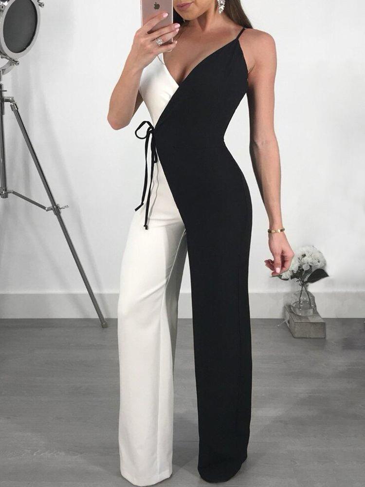 Contrast Color Spaghetti Strap Wrapped Wide Leg Jumpsuit, Black
