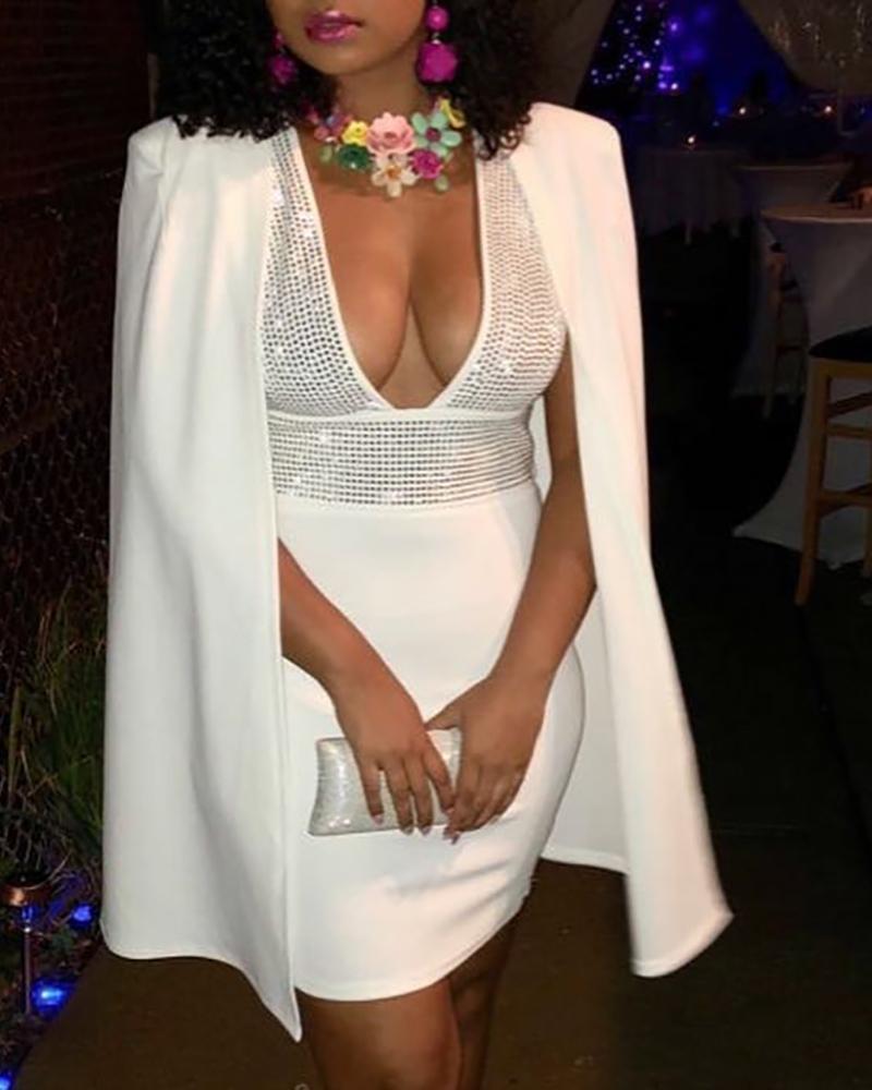 Studded Plunge Cape Design Bodycon Dress фото
