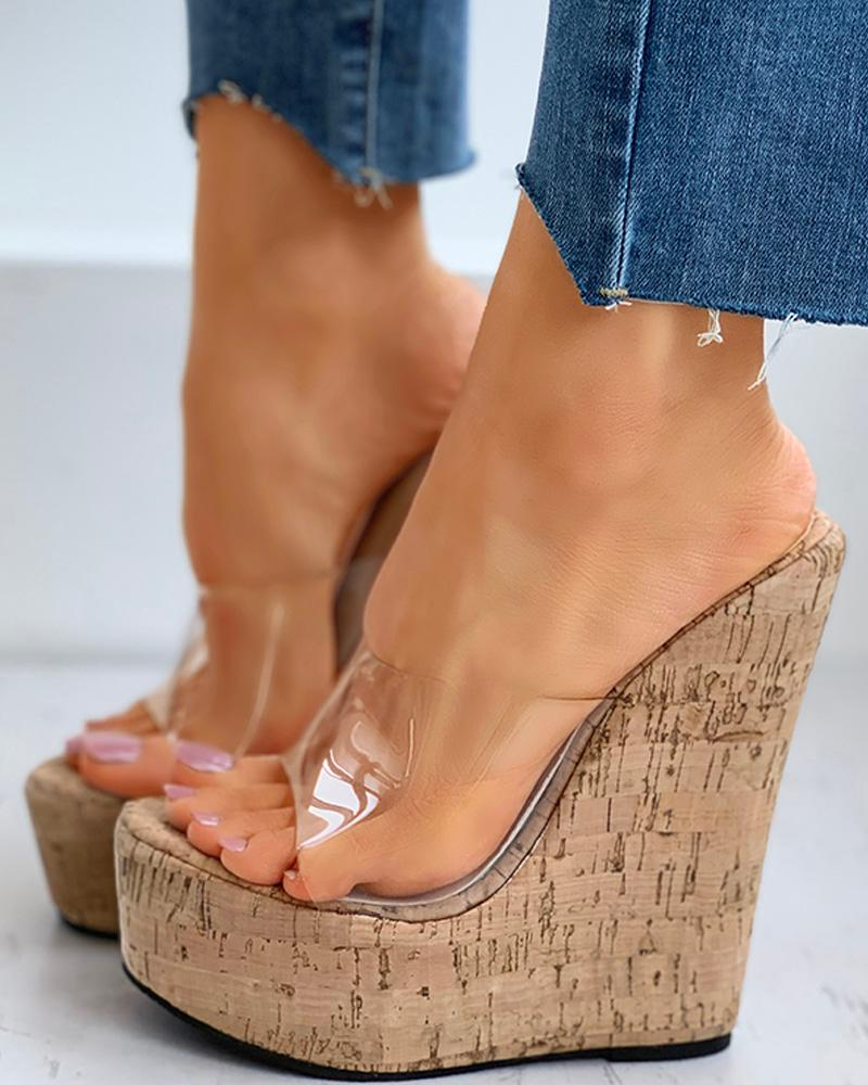 Transparent Detail Platform Wedge Sandals фото