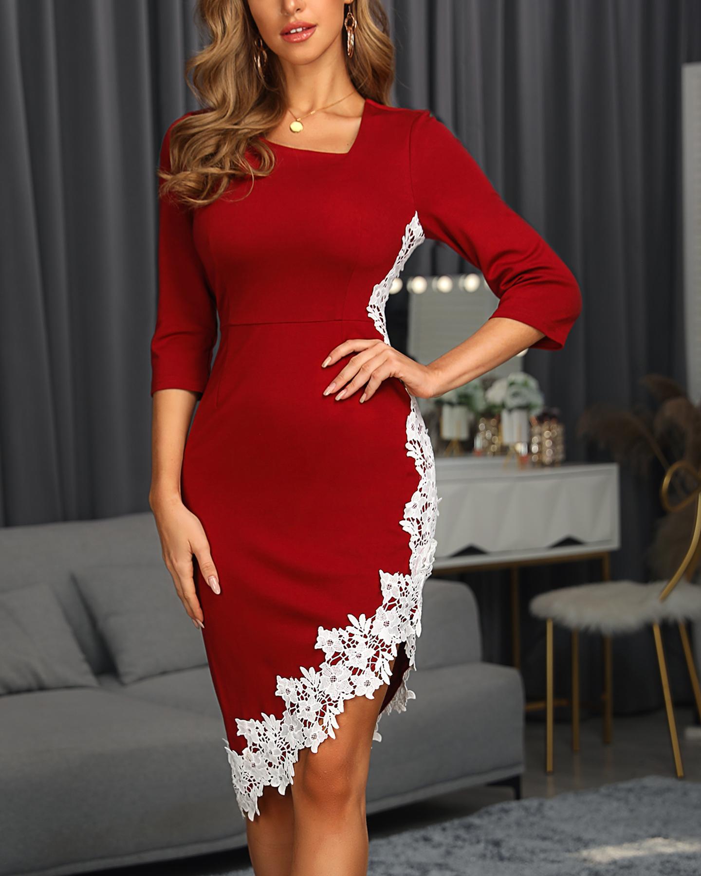Crochet Lace Irregular Midi Dress фото