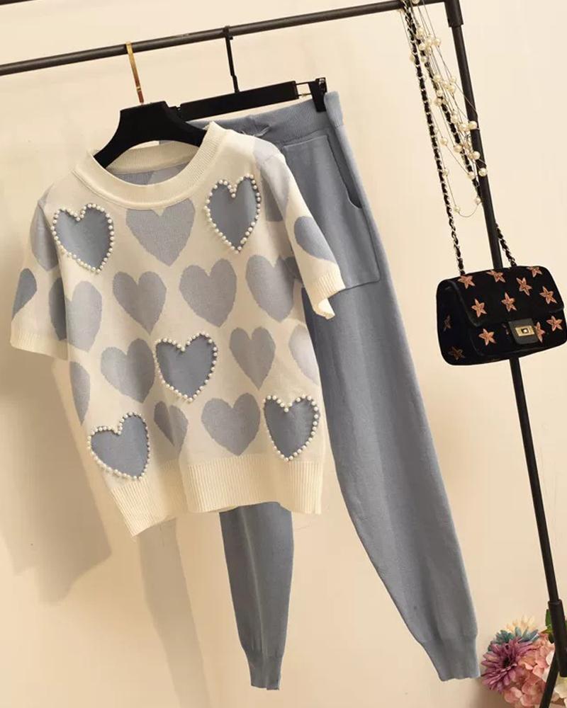 Heart Print T-Shirt & Pants фото