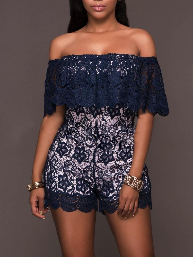 Sexy Off Shoulder Ruffle Scalloped Loose Romper