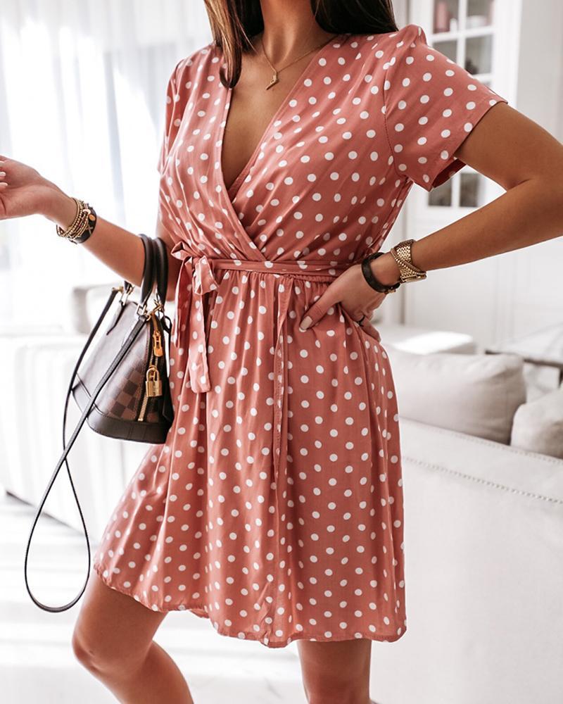 Polka Dot V-Neck Mini Dress фото
