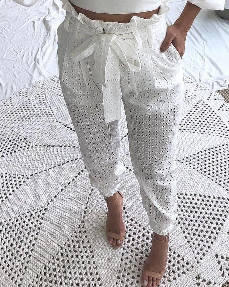 ivrose / Paperbag Waist Broderie Lace Casual Pants