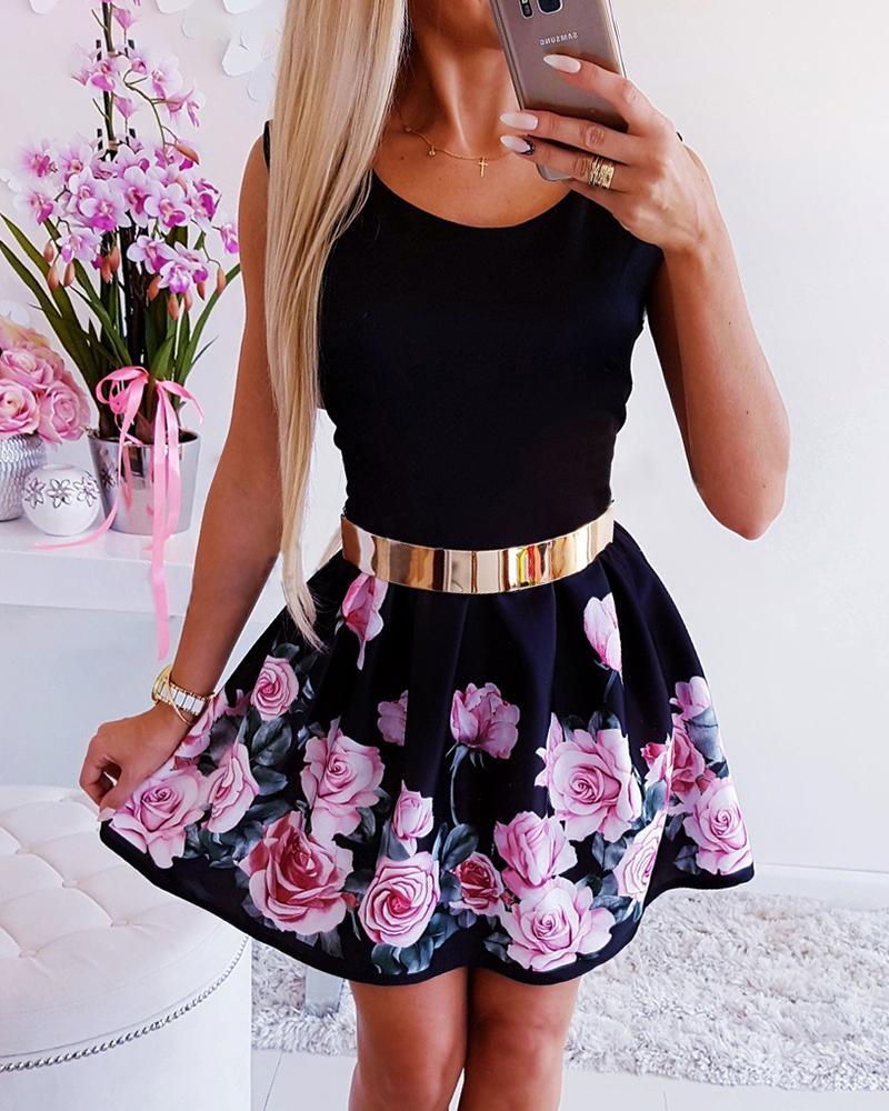 Round Neck High Waist Flower Print Dress
