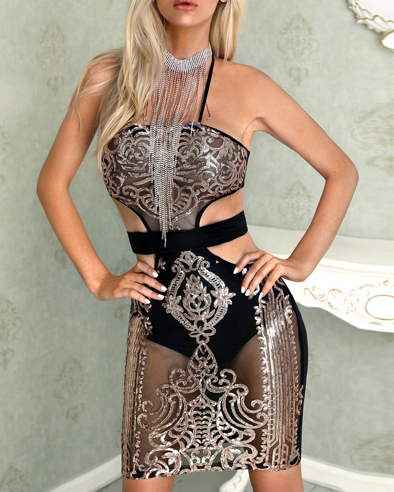 Cut Out Halter Bodycon Sequin Dress фото