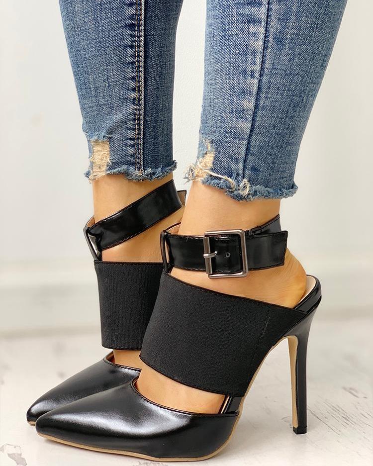 joyshoetique / Pointed Toe Insert Slingback Thin Heels